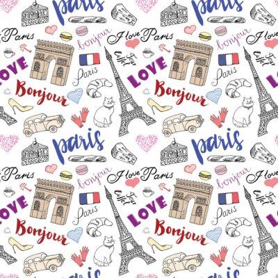 Fotomural París patrón sin fisuras con elementos dibujados a mano dibujo - torre eiffel triumf arco, artículos de moda. Dibujo ilustración vectorial doodle, aislado en blanco