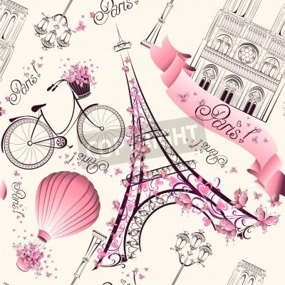 Fotomural París símbolos sin patrón. Viajes románticos en París. Vector