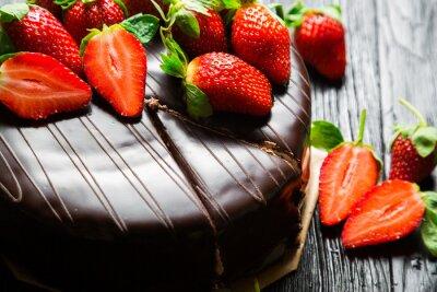 Fotomural Pastel de chocolate con fresas frescas