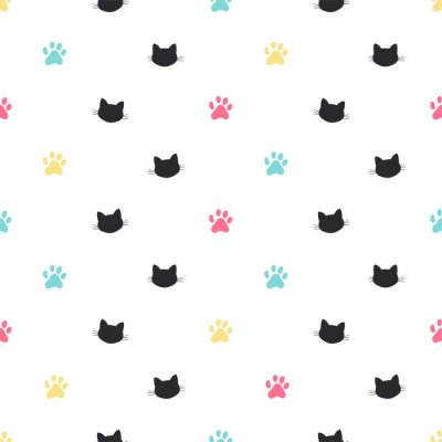 Fotomural pata de gato pista vector de patrones sin fisuras