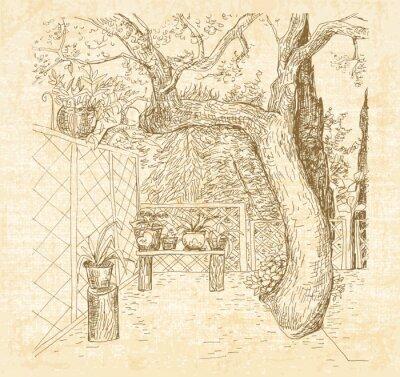 Fotomural Patio de verano soleado en pluma de estilo de doodle de arte. Dibujado a mano vector de boceto con fondo de textura de lona.