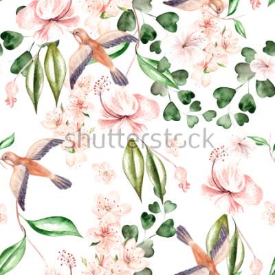 Fotomural Patrón de acuarela con flores de primavera, hojas de eucalipto y aves. Ilustración