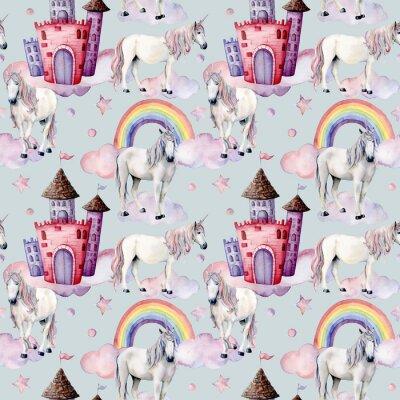 Fotomural Patrón de acuarela con unicornios y decoración de cuento de hadas. Caballos mágicos pintados a mano, castillo, arco iris, nubes, estrellas aisladas en el fondo blanco. Lindo fondo de pantalla para el