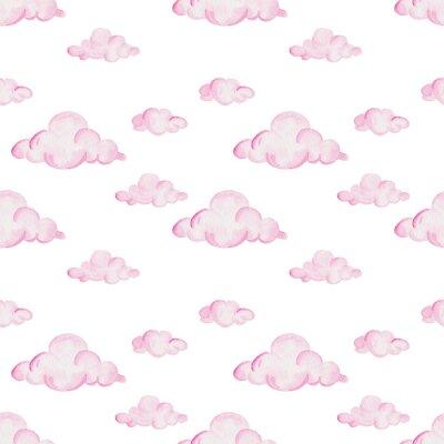 Fotomural Patrón de acuarela de la ducha de bebé. Nubes rosas sobre el fondo blanco. Para diseño, impresión o fondo