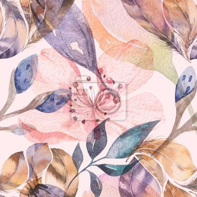 Fotomural Patrón de acuarela transparente Boho de plumas y flores silvestres, hojas, flores de ramas, ilustración, amor y plumas, flor bohemia de primavera de decoración