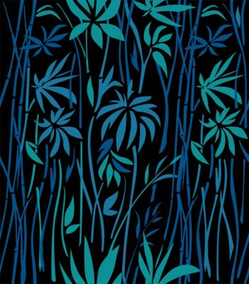 Fotomural Patrón de bambú matorrales de hojas de esmeralda y ramas azules sobre un fondo negro