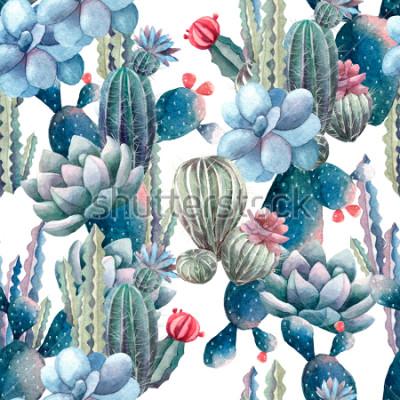 Fotomural patrón de cactus acuarela