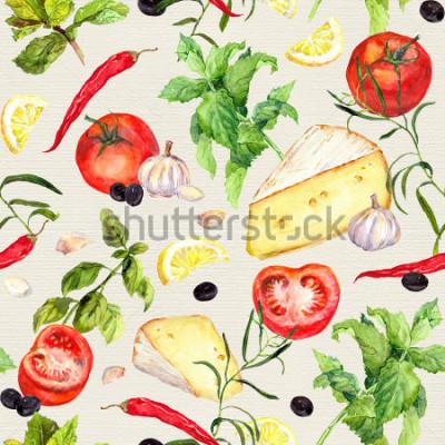 Fotomural Patrón de cocina con queso, tomate, ajo, especias y hierbas. Repetir la cocción de fondo. acuarela
