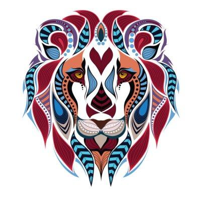 Fotomural Patrón de color cabeza del león. Diseño africano / del indio / del tótem / del tatuaje. Puede ser utilizado para el diseño de una camiseta, de un bolso, de una postal y de un cartel.
