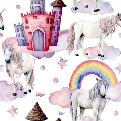 Fotomural Patrón de cuento de hadas acuarela con unicornios. Caballos mágicos pintados a mano, castillo, arco iris, nubes, estrellas aisladas en el fondo blanco. Lindo fondo de pantalla para el diseño, impresió
