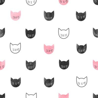Fotomural Patrón de gatos lindos sin costuras. Vector de fondo con acuarela cabezas de gato