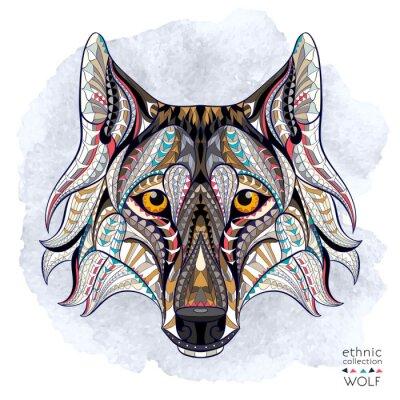 Fotomural Patrón de la cabeza del lobo en el fondo del grunge. Diseño africano / del indio / del tótem / del tatuaje. Puede ser utilizado para el diseño de una camiseta, bolso, postal, un cartel y así sucesivam