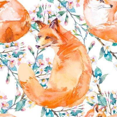 Fotomural Patrón de la fauna. Fox y ramas florecientes. Vector.