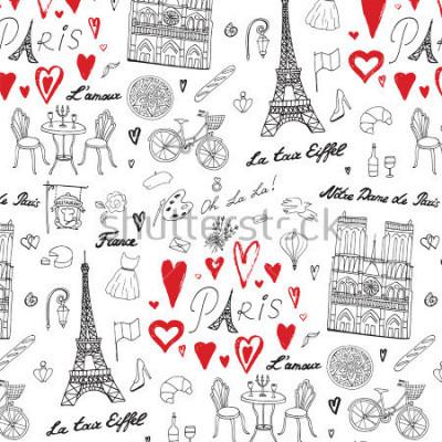 Fotomural Patrón de línea de vector de viajes París