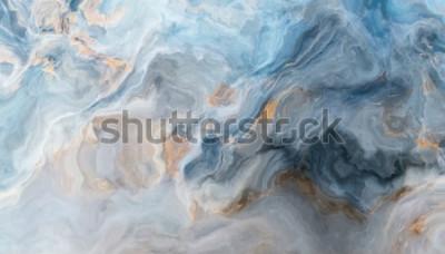 Fotomural Patrón de mármol azul con inclusiones grises y doradas. Textura abstracta y fondo. Ilustración 2D