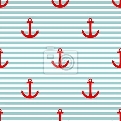 6b73bbb67a9 Fotomural Patrón de mosaico marinero vector con el ancla roja y verde menta  y rayas blancas
