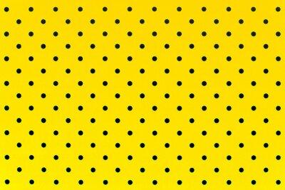 Fotomural Patrón de papel tapiz puntos negros en fondo de color amarillo
