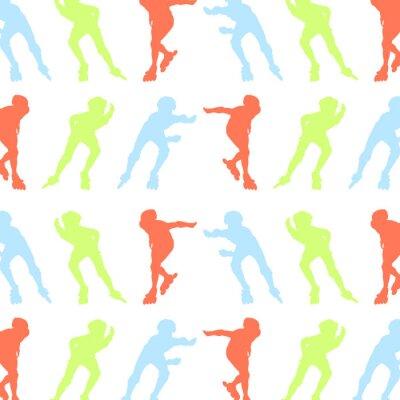 Fotomural Patrón de patinaje de rodillos de vectores de concepto de fondo