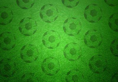 Fotomural Patrón de pelotas de fútbol sobre fondo de hierba verde. Fondo conceptual del espacio de la copia del balompié.