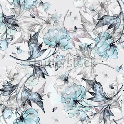 Fotomural Patrón de peonía sin costuras con brotes, patrón para tela y papel tapiz, para diseño y decoración.