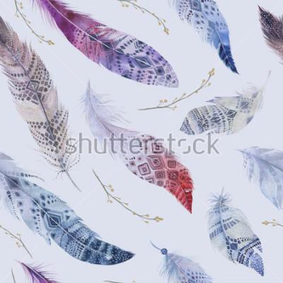 Fotomural Patrón de plumas. Acuarela elegante fondo. Impresión de diseño orgánico en color acuarela. Perfecta textura de boho color repetición con papel pintado elegante dibujado a mano. Ilustración de aves