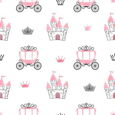 Fotomural Patrón de princesa sin fisuras con castillos, coronas y carruajes. Fondo de vector.
