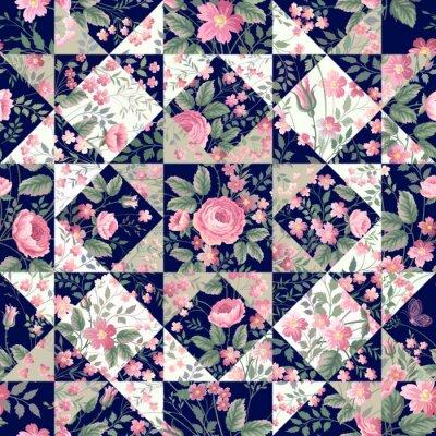 Fotomural Patrón de remiendo transparente con rosas