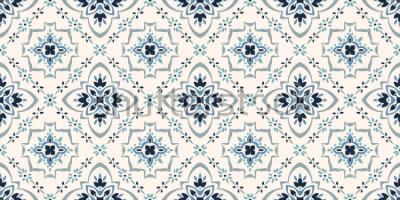 Fotomural Patrón de talavera. Azulejos portugal. Adorno turco. Mosaico de azulejos marroquíes. Porcelana española. Vajilla de cerámica, estampado folk. Alfarería española. Origen étnico. Papel pintado mediterrá