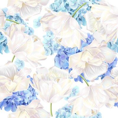 Fotomural Patrón de tulipán azul de Hydrangea