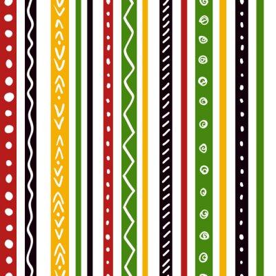 Fotomural Patrón étnico inconsútil con las rayas verdes, amarillas, del color rojo. Repita el fondo de textura de rayas rectas, vector.