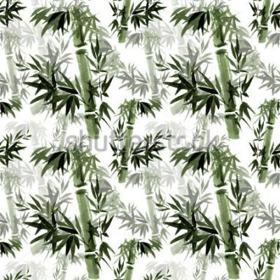 Fotomural Patrón floral sin bambú El susurro del bambú en el viento. Arte oriental tradicional, acuarela, tinta, pincel libre.