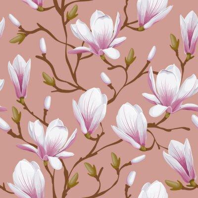 Fotomural Patrón floral sin fisuras - magnolia