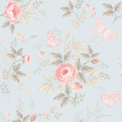 Fotomural Patrón floral transparente con rosas y mariposas