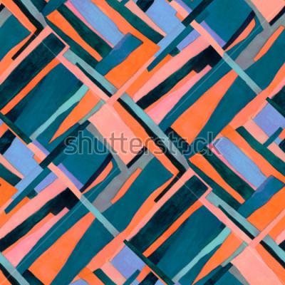 Fotomural Patrón geométrico sin costuras con rayas multicolores y tréboles rombo. Fondo abstracto contemporáneo de moda.