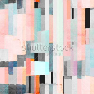 Fotomural Patrón geométrico sin costuras con rayas multicolores y turquesas. Resumen de moda de fondo.