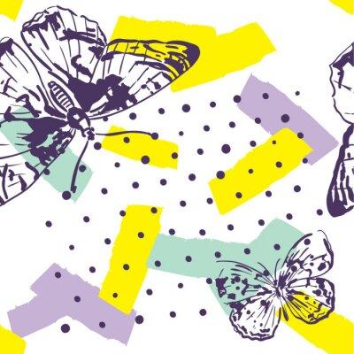 Fotomural Patrón repetido con insectos. Patrón de moda con mariposas en estilo dibujado a mano. Fondo para textiles, fabricación, portadas de libros, fondos de pantalla, impresión o papel de regalo.