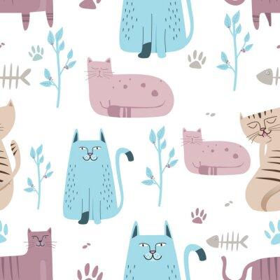 Fotomural Patrón sin costuras lindo gato con dibujos animados dibujados a mano