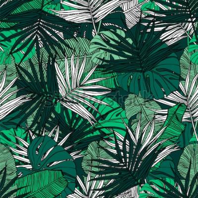 Fotomural Patrón sin costuras tropical Dibujado a mano ilustración con follaje de plantas tropicales. Textura con hojas de plátano, palma y monstera. Diseño vectorial de verano.