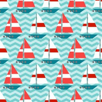 Fotomural Patrón sin fisuras con barcos de vela en las olas
