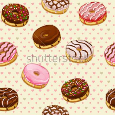 Fotomural Patrón sin fisuras con coloridos donuts sabrosos
