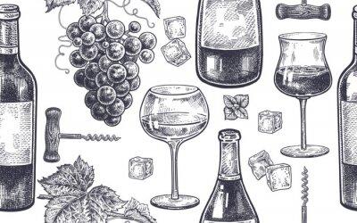 Fotomural Patrón sin fisuras con el vino bebiendo.
