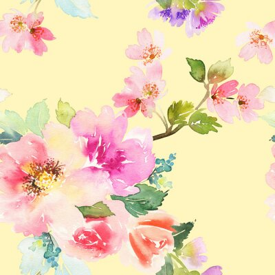 Fotomural Patrón sin fisuras con flores de acuarela. Colores suaves.