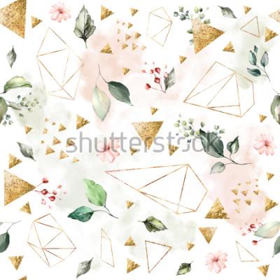 Fotomural Patrón sin fisuras con hojas de primavera y flores. Fondo dibujado a mano. Patrón con forma geométrica poligonal. Azulejo botánico