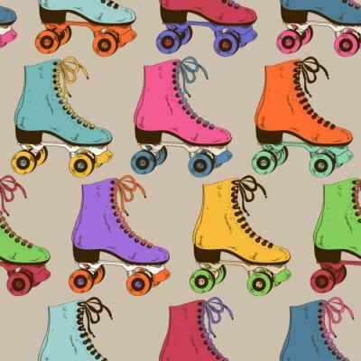 Fotomural Patrón sin fisuras con los patines retro rodillos