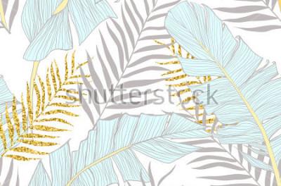 Fotomural Patrón sin fisuras con plátano y hojas de palma dorada en vector