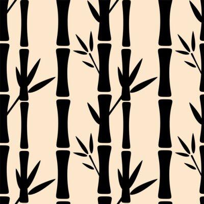 Fotomural Patrón sin fisuras con siluetas de árboles de bambú negro