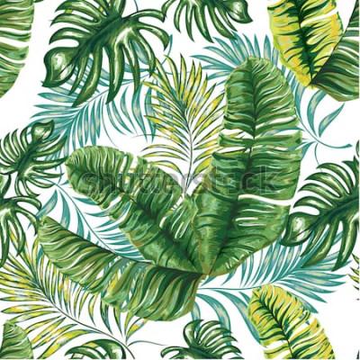 Fotomural Patrón sin fisuras de una palmera tropical, hojas de la selva y flores. Dibujo a mano. Patrón floral de vector