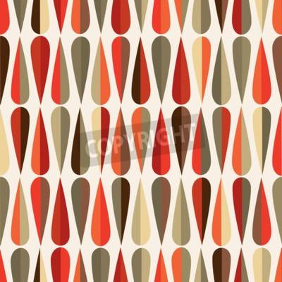 Fotomural Patrón sin fisuras retro de estilo moderno de mediados de siglo con formas de gota en varios tonos de color, fondo de repetición abstracta para todos los propósitos de la tela y de la impresión.