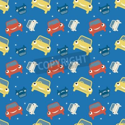 Fotomural Patrón sin fisuras, tema del coche, ilustración vectorial