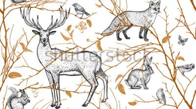 Fotomural Patrón sin problemas con ramas de árboles, animales del bosque y aves. Ciervo, zorro, liebre, ardilla. Ilustración vectorial de arte. Diseño natural para tejidos, textiles, papel, papeles pintados. Or